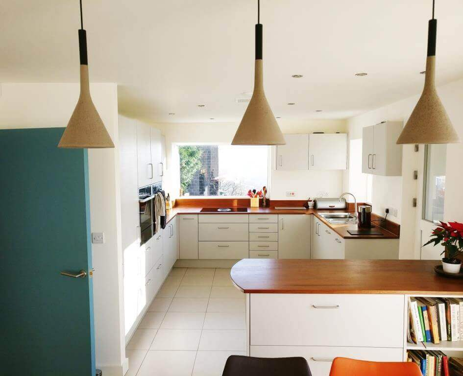 Sheffield Sustainable Kitchens - mid century modern kitchen with reclaimed timber worktops