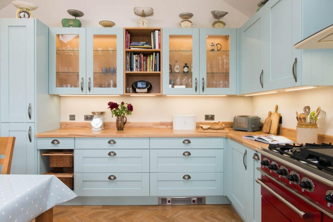pale blue country kitchen with beech worktops
