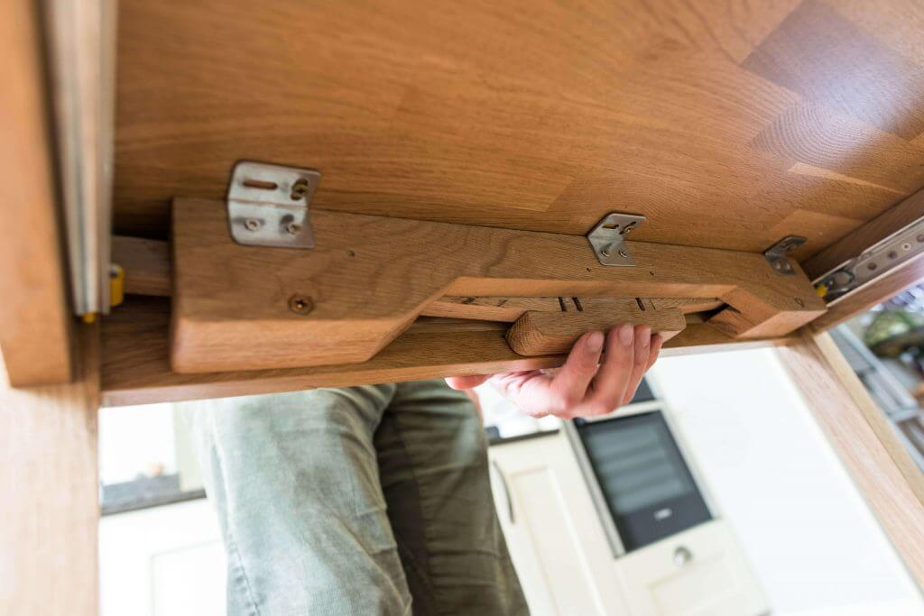 pullout table mechanism in kitchen