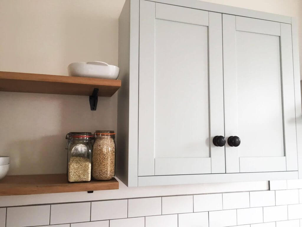 Sheffield Sustainable Kitchens painted kitchen cabinet and open shelving