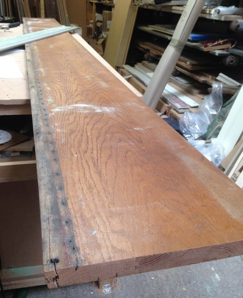 reclaimed timber pew oak in Sheffield Sustainable Kitchens worktop