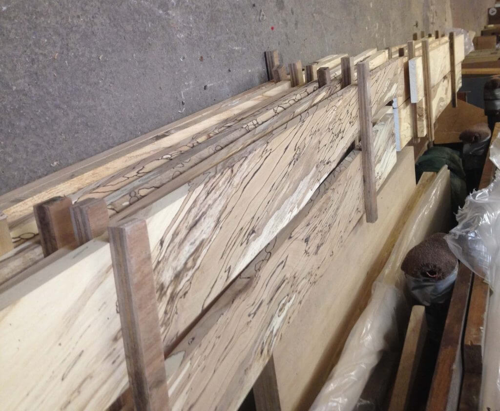 spalted beech timber in Sheffield Sustainable Kitchens workshop