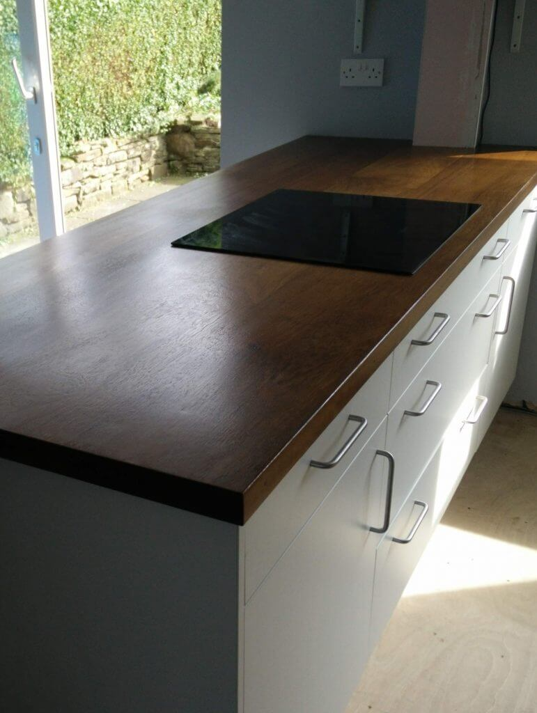 Sheffield Sustainable Kitchens reclaimed timber kitchen worktop from recycled iroko