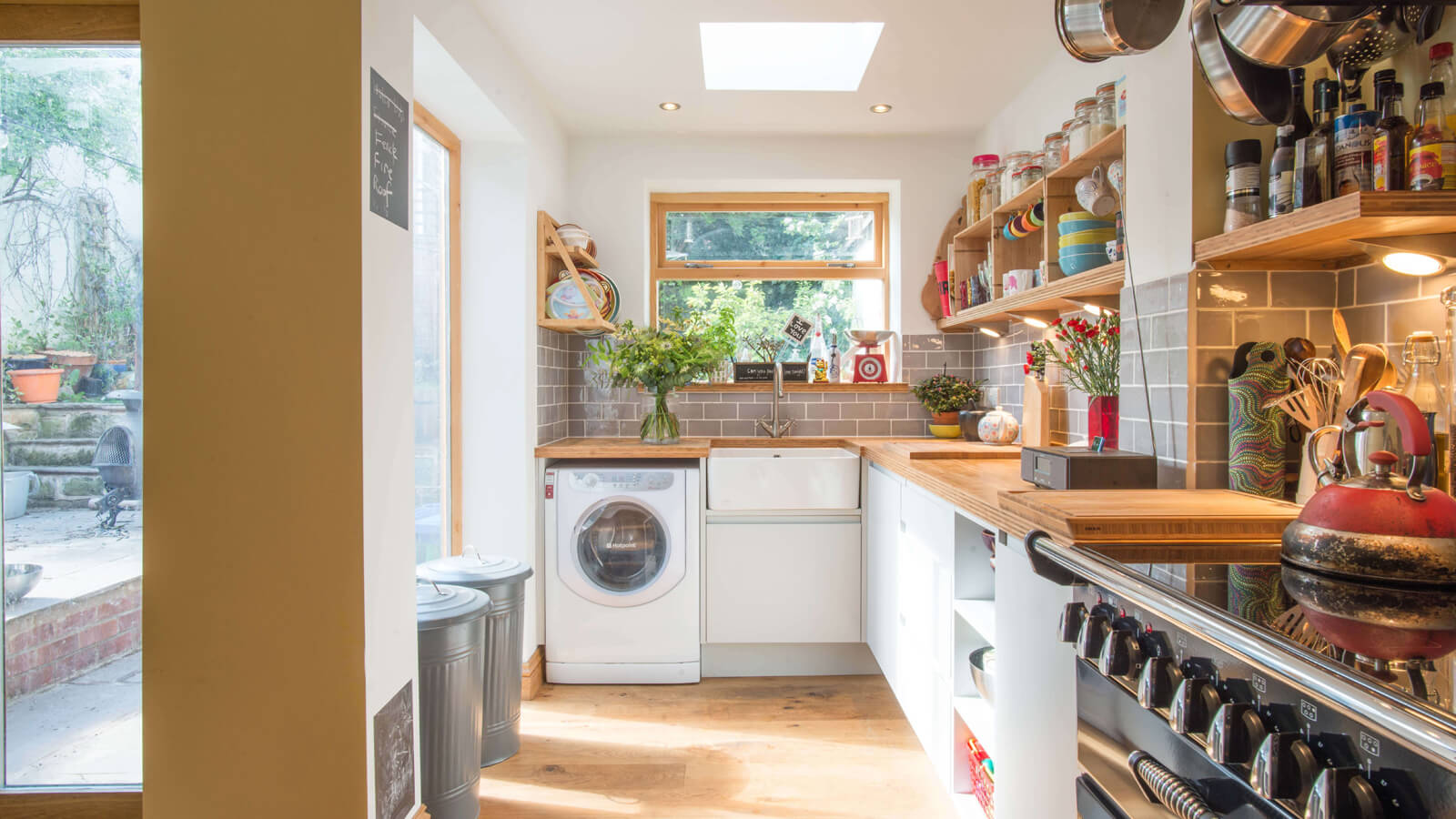 bright and modern off shot kitchen with bamboo worktops from Sheffield Sustainable Kitchens