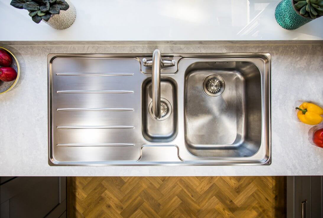 stainless steel sink from above in new kitchen