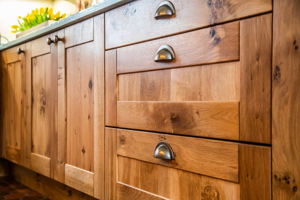 bespoke pippy oak kitchen cabinet door with cup handles