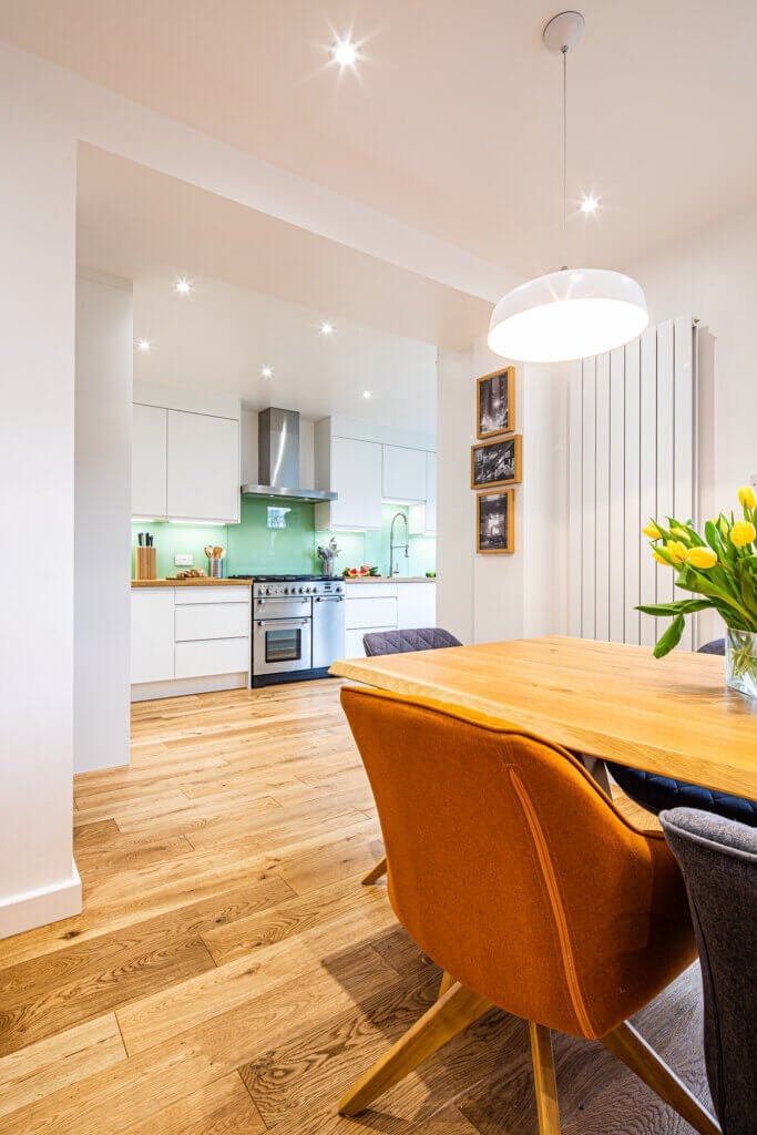 bespoke kitchen with knocked through open plan diner