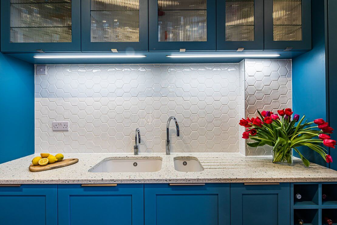 geometric tiles with recycled glass kitchen worktop