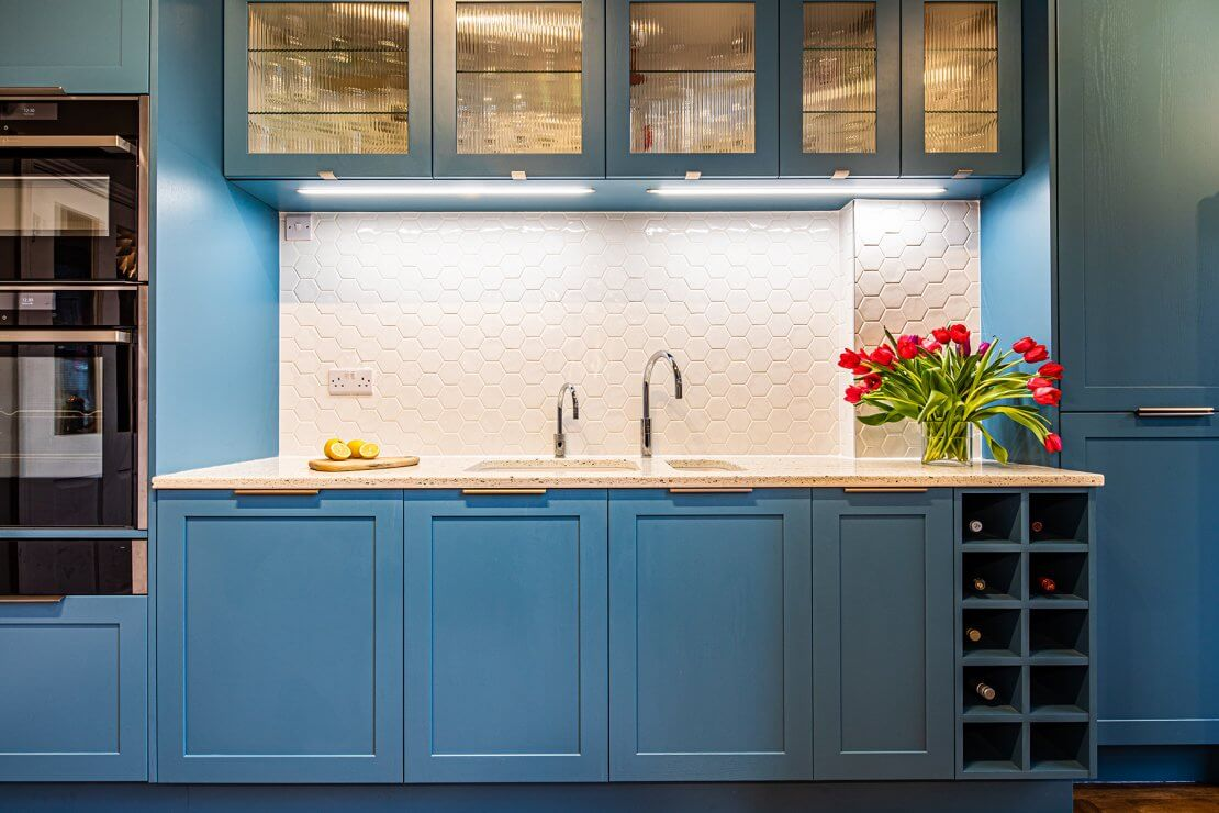 hexagon tile kitchen wall splashback with shaker cabinets