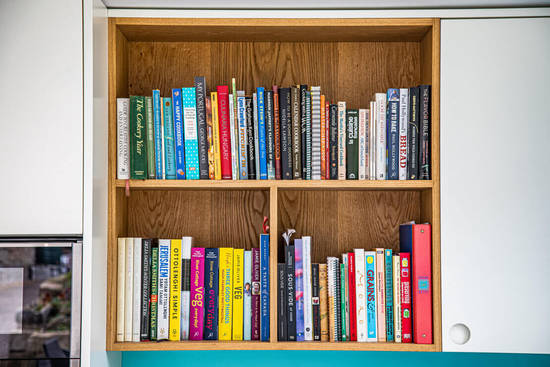 bespoke shelving for displayed cook books