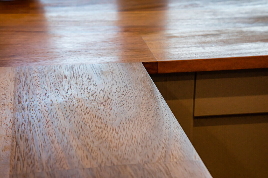 joinery of reclaimed iroko worktop with wood grain